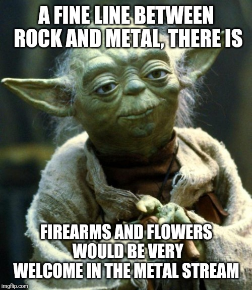 Star Wars Yoda Meme | A FINE LINE BETWEEN ROCK AND METAL, THERE IS FIREARMS AND FLOWERS WOULD BE VERY WELCOME IN THE METAL STREAM | image tagged in memes,star wars yoda | made w/ Imgflip meme maker