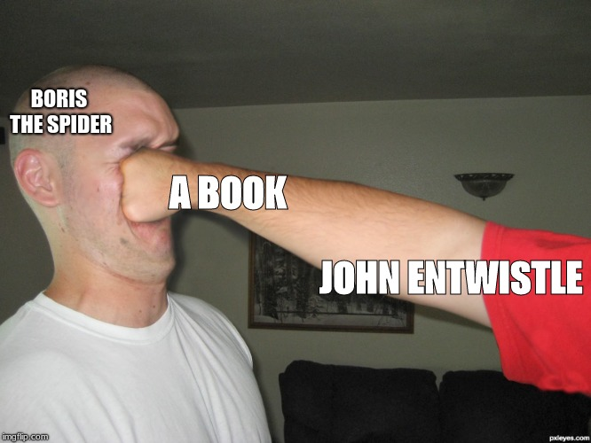 Face punch | BORIS THE SPIDER A BOOK                                                                                                         JOHN ENTWIST | image tagged in face punch | made w/ Imgflip meme maker