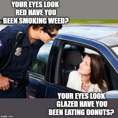 what you should not say to a cop | YOUR EYES LOOK RED HAVE YOU BEEN SMOKING WEED? YOUR EYES LOOK GLAZED HAVE YOU BEEN EATING DONUTS? | image tagged in traffic,cop | made w/ Imgflip meme maker