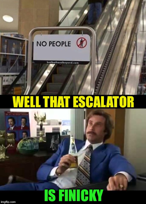 I want this sign for my front door | WELL THAT ESCALATOR IS FINICKY | image tagged in memes,well that escalated quickly,no,people,escalator,funny memes | made w/ Imgflip meme maker