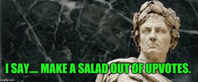 Ceaser | I SAY.... MAKE A SALAD OUT OF UPVOTES. | image tagged in ceaser | made w/ Imgflip meme maker