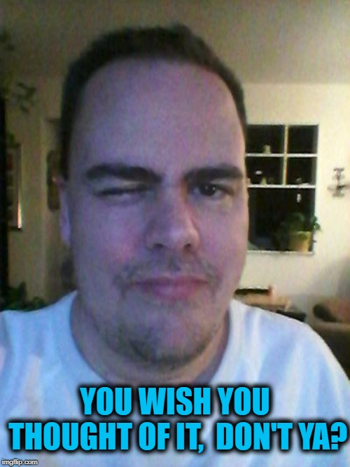 wink | YOU WISH YOU THOUGHT OF IT,  DON'T YA? | image tagged in wink | made w/ Imgflip meme maker