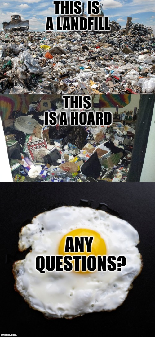 This is Your Brain on Hoarding |  THIS  IS A LANDFILL; THIS IS A HOARD; ANY QUESTIONS? | image tagged in eggs,landfill,hoardy mess mess 1,hoarders,hoarding,denial | made w/ Imgflip meme maker