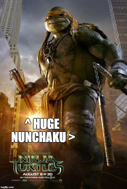 Michelangelo w/ Nunchaku | ^ HUGE NUNCHAKU > | image tagged in michelangelo,tmnt,turtle,sunglasses,chuka-sticks,wow | made w/ Imgflip meme maker