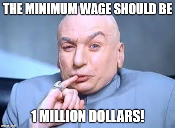 dr evil pinky |  THE MINIMUM WAGE SHOULD BE; 1 MILLION DOLLARS! | image tagged in dr evil pinky | made w/ Imgflip meme maker