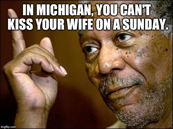 This Morgan Freeman |  IN MICHIGAN, YOU CAN'T KISS YOUR WIFE ON A SUNDAY. | image tagged in this morgan freeman | made w/ Imgflip meme maker