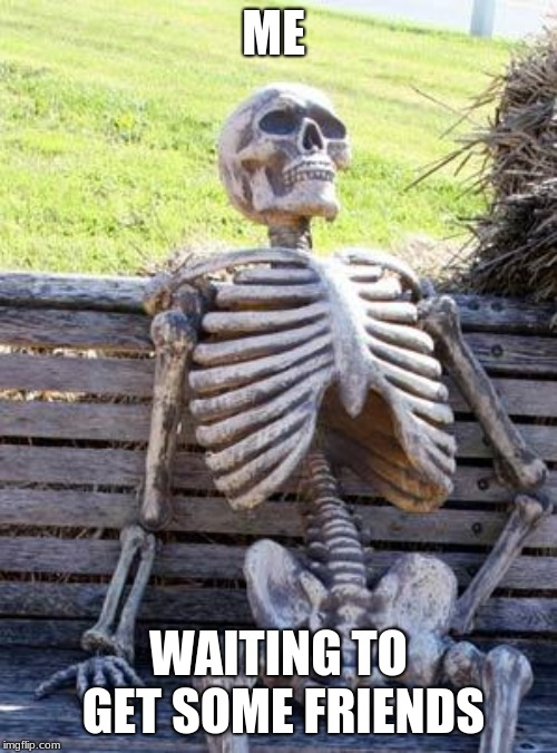 Waiting Skeleton | ME WAITING TO GET SOME FRIENDS | image tagged in memes,waiting skeleton | made w/ Imgflip meme maker