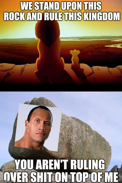 Dwayne Rock | WE STAND UPON THIS ROCK AND RULE THIS KINGDOM YOU AREN'T RULING OVER SHIT ON TOP OF ME | image tagged in memes,lion king,you rock | made w/ Imgflip meme maker