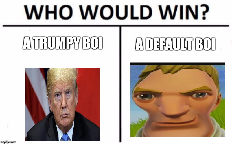 Who Would Win? Meme | A TRUMPY BOI A DEFAULT BOI | image tagged in memes,who would win | made w/ Imgflip meme maker