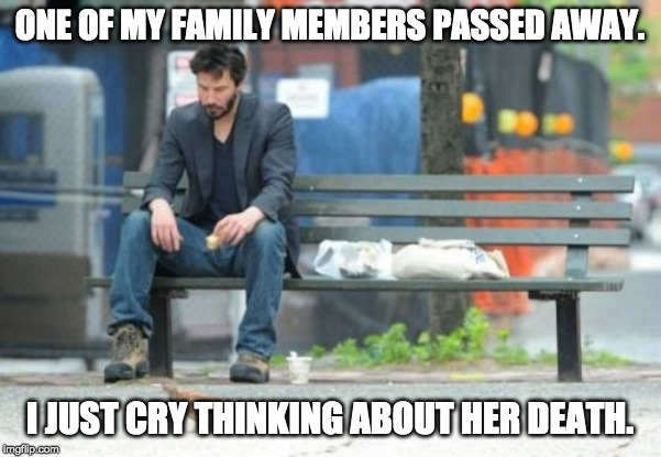 ONE OF MY FAMILY MEMBERS PASSED AWAY. I JUST CRY THINKING ABOUT HER DEATH. | image tagged in memes,sad keanu | made w/ Imgflip meme maker