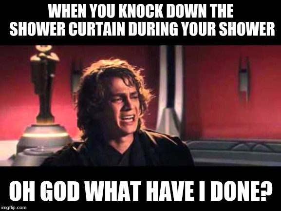 Anakin What have I done? |  WHEN YOU KNOCK DOWN THE SHOWER CURTAIN DURING YOUR SHOWER; OH GOD WHAT HAVE I DONE? | image tagged in anakin what have i done | made w/ Imgflip meme maker