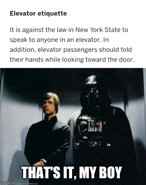The Skywalkers, Leading by Example. Ludicrous Laws Week (April 1-7) a Katechuks, LordCheesus, and SydneyB event | THAT'S IT, MY BOY | image tagged in memes,aprilfoolsweek,lordcheesus,sydneyb,katechuks,darth vader luke skywalker | made w/ Imgflip meme maker