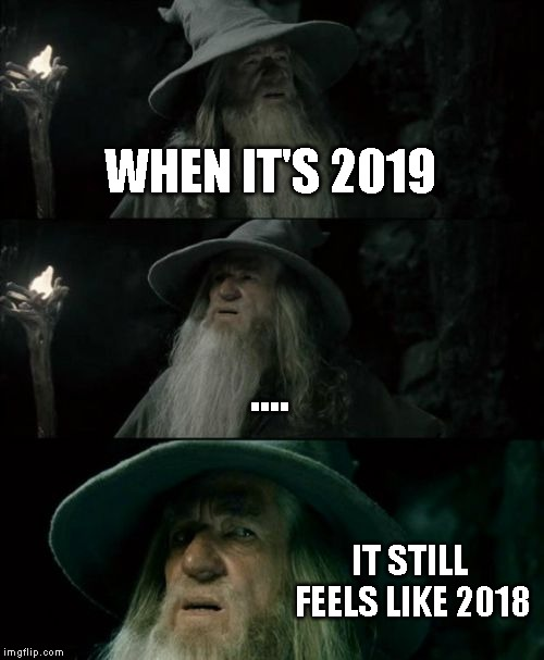 Confused Gandalf | WHEN IT'S 2019 .... IT STILL FEELS LIKE 2018 | image tagged in memes,confused gandalf,2019,2018 | made w/ Imgflip meme maker