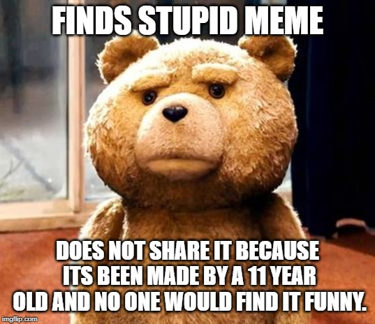 TED | FINDS STUPID MEME DOES NOT SHARE IT BECAUSE ITS BEEN MADE BY A 11 YEAR OLD AND NO ONE WOULD FIND IT FUNNY. | image tagged in memes,ted | made w/ Imgflip meme maker