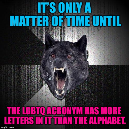 How many sexual orientations will there be? | IT'S ONLY A MATTER OF TIME UNTIL THE LGBTQ ACRONYM HAS MORE LETTERS IN IT THAN THE ALPHABET. | image tagged in memes,insanity wolf,lgbtq,gay jokes,alphabet,bad joke | made w/ Imgflip meme maker