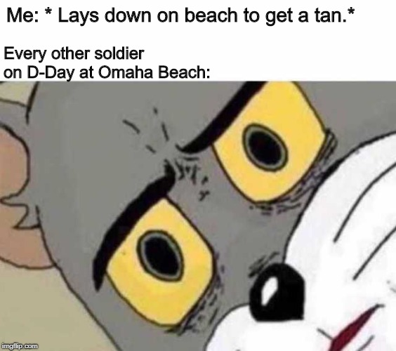 Me: * Lays down on beach to get a tan.* Every other soldier on D-Day at Omaha Beach: | image tagged in unsettled tom | made w/ Imgflip meme maker