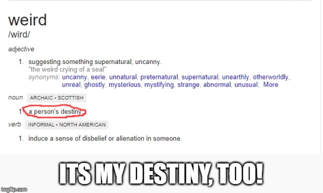 I've always been strange...Now I realize, ITS MY DESTINY | ITS MY DESTINY, TOO! | image tagged in memes,weird,destiny,funny,definition | made w/ Imgflip meme maker
