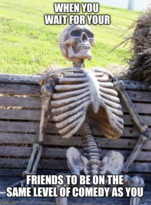 Waiting Skeleton | WHEN YOU WAIT FOR YOUR FRIENDS TO BE ON THE SAME LEVEL OF COMEDY AS YOU | image tagged in memes,waiting skeleton | made w/ Imgflip meme maker
