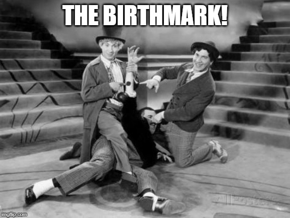The Marx Brothers | THE BIRTHMARK! | image tagged in marx,groucho marx | made w/ Imgflip meme maker