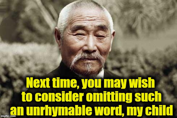 Wise man | Next time, you may wish to consider omitting such an unrhymable word, my child | image tagged in wise man | made w/ Imgflip meme maker