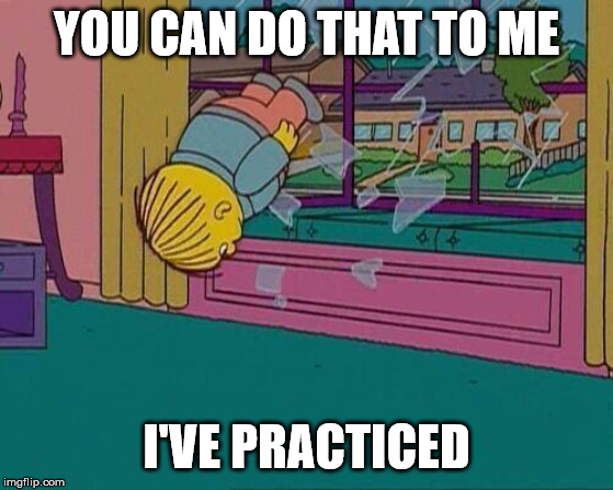 Simpsons Jump Through Window | YOU CAN DO THAT TO ME I'VE PRACTICED | image tagged in simpsons jump through window | made w/ Imgflip meme maker