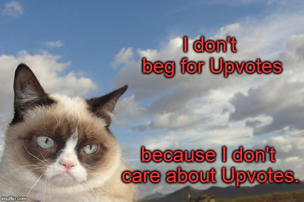 So there!  |  I don't beg for Upvotes; because I don't care about Upvotes. | image tagged in memes,grumpy cat sky,grumpy cat | made w/ Imgflip meme maker