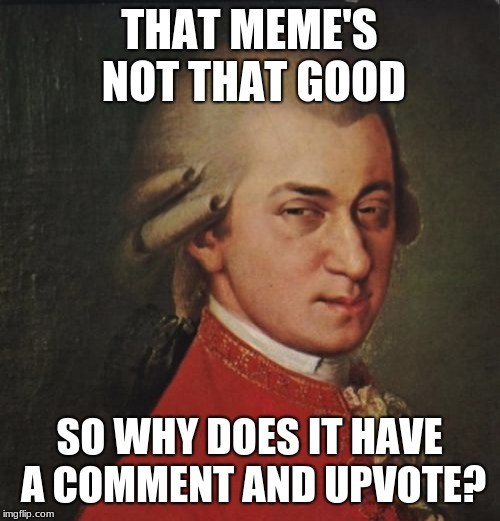 Mozart Not Sure Meme | THAT MEME'S NOT THAT GOOD SO WHY DOES IT HAVE A COMMENT AND UPVOTE? | image tagged in memes,mozart not sure | made w/ Imgflip meme maker