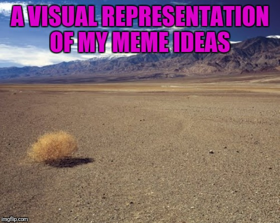 I think I might need to take a break. | A VISUAL REPRESENTATION OF MY MEME IDEAS | image tagged in tumble weed,looking for inspiration,lack of creativity | made w/ Imgflip meme maker