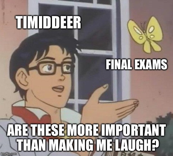 Is This A Pigeon Meme | TIMIDDEER FINAL EXAMS ARE THESE MORE IMPORTANT THAN MAKING ME LAUGH? | image tagged in memes,is this a pigeon | made w/ Imgflip meme maker