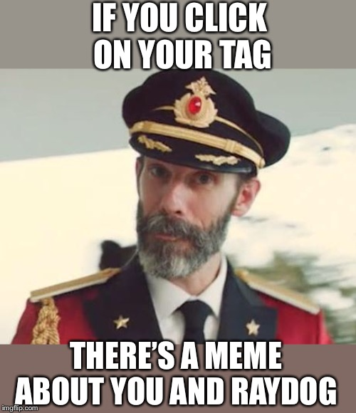 Captain Obvious | IF YOU CLICK ON YOUR TAG THERE'S A MEME ABOUT YOU AND RAYDOG | image tagged in captain obvious | made w/ Imgflip meme maker