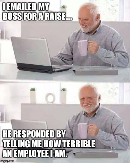 Time to look for a new job |  I EMAILED MY BOSS FOR A RAISE.... HE RESPONDED BY TELLING ME HOW TERRIBLE AN EMPLOYEE I AM. | image tagged in memes,hide the pain harold,scumbag boss,work,funny,employment | made w/ Imgflip meme maker