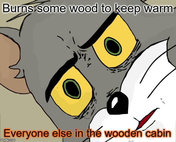 Unsettled Tom Meme | Burns some wood to keep warm Everyone else in the wooden cabin | image tagged in memes,unsettled tom | made w/ Imgflip meme maker