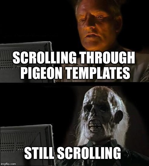 Ill Just Wait Here Meme | SCROLLING THROUGH PIGEON TEMPLATES STILL SCROLLING | image tagged in memes,ill just wait here | made w/ Imgflip meme maker