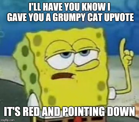 In case you need clarification... | I'LL HAVE YOU KNOW I GAVE YOU A GRUMPY CAT UPVOTE IT'S RED AND POINTING DOWN | image tagged in memes,ill have you know spongebob,fishing for upvotes,downvotes,grumpy cat | made w/ Imgflip meme maker