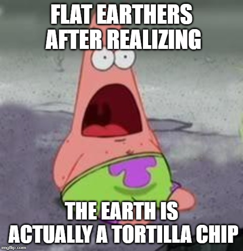 Suprised Patrick | FLAT EARTHERS AFTER REALIZING THE EARTH IS ACTUALLY A TORTILLA CHIP | image tagged in suprised patrick | made w/ Imgflip meme maker