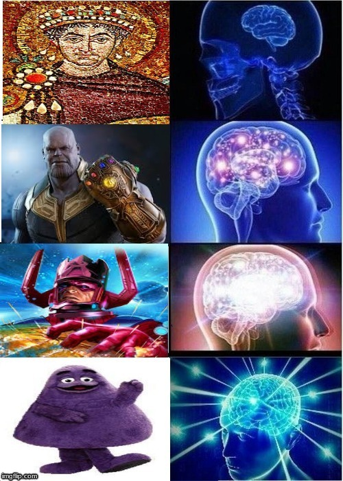 purple represented prestige, royalty and power through the ages . . . . | image tagged in memes,expanding brain,thanos,roman,grimace | made w/ Imgflip meme maker