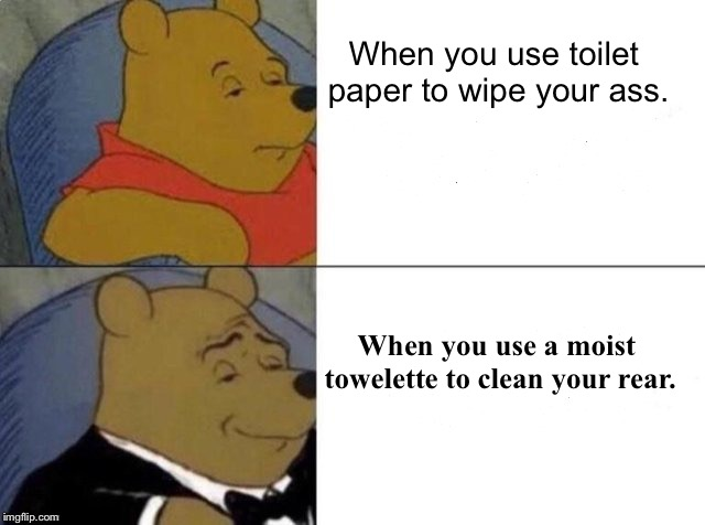 Tuxedo winnie the pooh | When you use toilet paper to wipe your ass. When you use a moist towelette to clean your rear. | image tagged in tuxedo winnie the pooh,dankmemes | made w/ Imgflip meme maker
