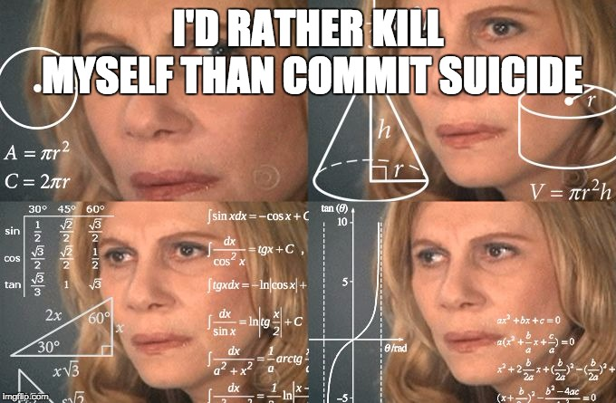Because, that's how the system works | I'D RATHER KILL MYSELF THAN COMMIT SUICIDE | image tagged in calculating meme | made w/ Imgflip meme maker