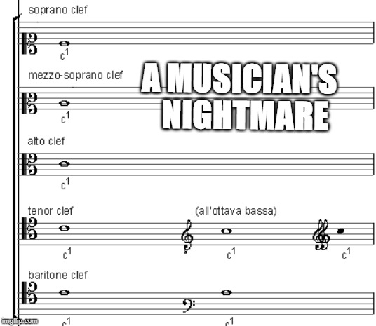 Unholy C clef Family | A MUSICIAN'S  NIGHTMARE | image tagged in music,viola,musician jokes | made w/ Imgflip meme maker