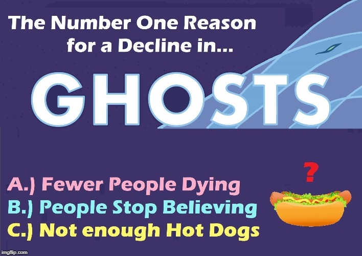 I Don't Hear Much about Ghosts Anymore & I Wanna Know Why | THE NUMBER ONE REASON FOR A DECLINE IN... GHOSTS | image tagged in vince vance,ghosts,spirits,the supernatural,specter,poll | made w/ Imgflip meme maker