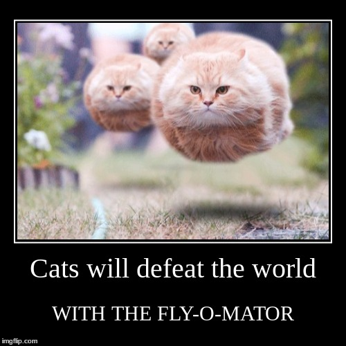 Cats will defeat the world | WITH THE FLY-O-MATOR | image tagged in advertisement,cats,flying,black,poof,cats will defeat the world | made w/ Imgflip demotivational maker
