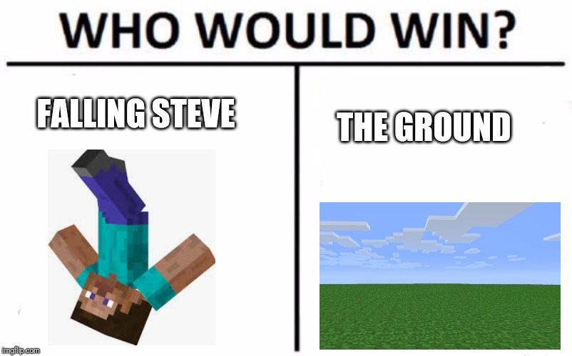 Who would win | FALLING STEVE THE GROUND | image tagged in memes,who would win,falling down,minecraft | made w/ Imgflip meme maker