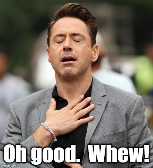 relieved rdj | Oh good.  Whew! | image tagged in relieved rdj | made w/ Imgflip meme maker