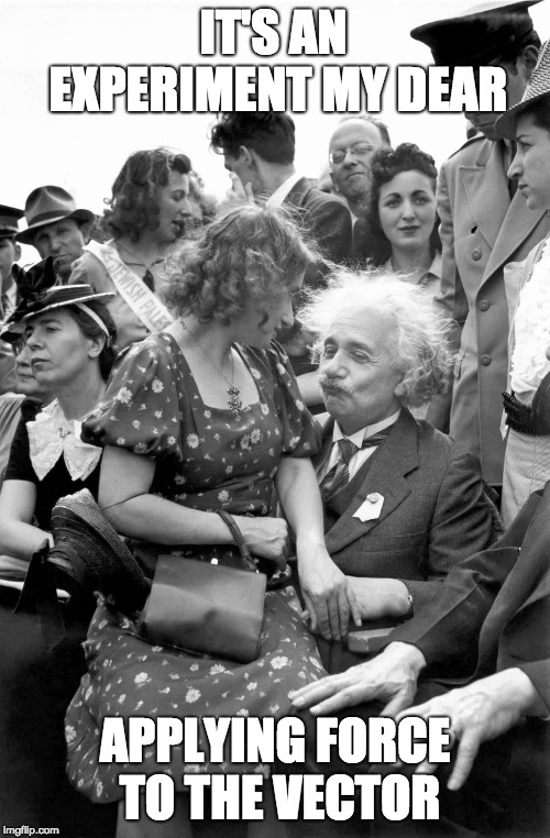 oh albert |  IT'S AN EXPERIMENT MY DEAR; APPLYING FORCE TO THE VECTOR | image tagged in einstein,physics,innuendo | made w/ Imgflip meme maker