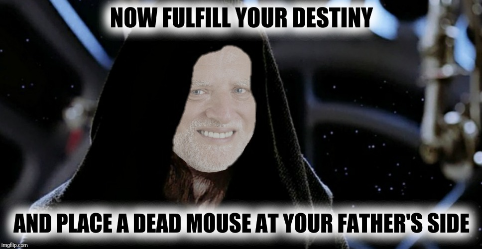 NOW FULFILL YOUR DESTINY AND PLACE A DEAD MOUSE AT YOUR FATHER'S SIDE | made w/ Imgflip meme maker