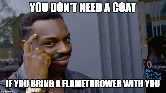 Roll Safe Think About It Meme | YOU DON'T NEED A COAT IF YOU BRING A FLAMETHROWER WITH YOU | image tagged in memes,roll safe think about it | made w/ Imgflip meme maker