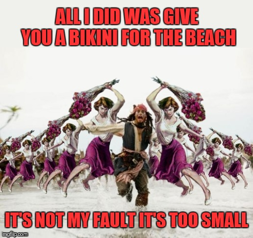 Beaten With Roses | ALL I DID WAS GIVE YOU A BIKINI FOR THE BEACH IT'S NOT MY FAULT IT'S TOO SMALL | image tagged in jack sparrow beaten with roses,beaten with roses,memes,beach,bikini,44colt | made w/ Imgflip meme maker