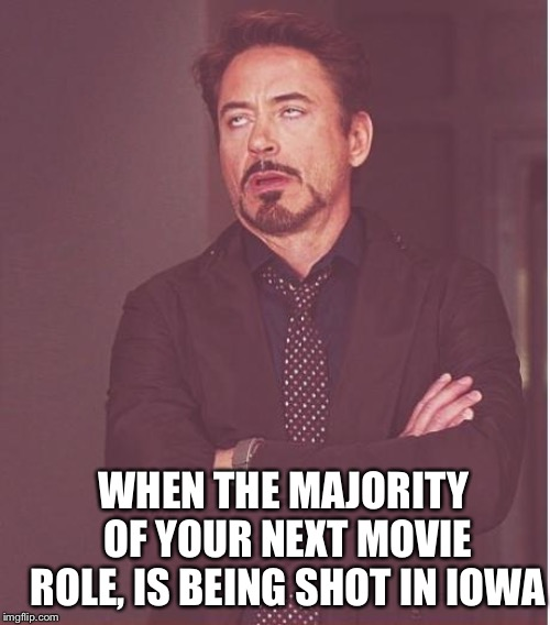 Face You Make Robert Downey Jr Meme | WHEN THE MAJORITY OF YOUR NEXT MOVIE ROLE, IS BEING SHOT IN IOWA | image tagged in memes,face you make robert downey jr | made w/ Imgflip meme maker
