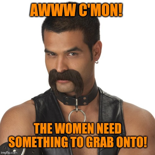 leather mustache | AWWW C'MON! THE WOMEN NEED SOMETHING TO GRAB ONTO! | image tagged in leather mustache | made w/ Imgflip meme maker