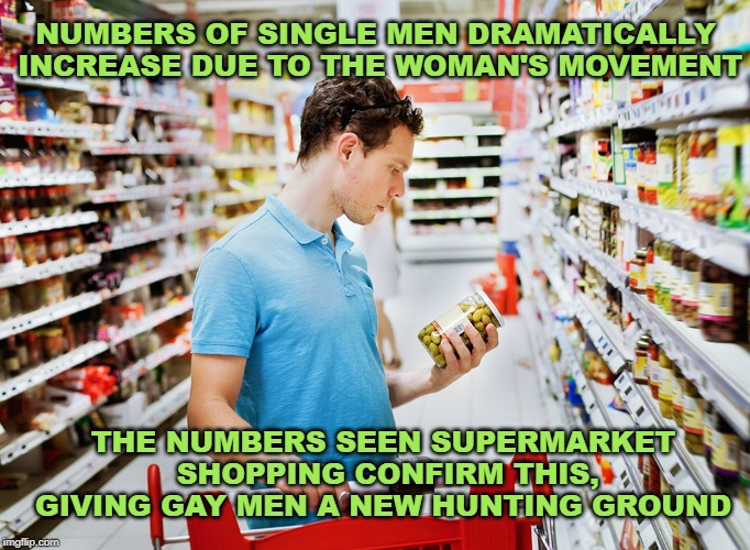 Supermarket |  NUMBERS OF SINGLE MEN DRAMATICALLY INCREASE DUE TO THE WOMAN'S MOVEMENT; THE NUMBERS SEEN SUPERMARKET SHOPPING CONFIRM THIS, GIVING GAY MEN A NEW HUNTING GROUND | image tagged in supermarket | made w/ Imgflip meme maker